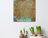 """Small Abstract Painting - Mimosa - textured acrylic on wood panel - paint scrape build up - 8x8"""" - Giftable Art - turquoise and orange"""