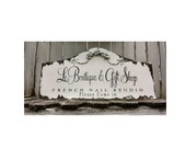 Shabby Chic BUSINESS SIGN | Business Name Sign | Roses | French Chic | Distressed Wood Plaque | Boutique Sign