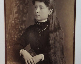 Fine Cabinet Card Featuring Lovely Girl With Waist Length Long Hair