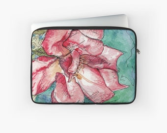 Pink Wild Rose Flower Laptop Sleeve Soft Cushioned Padded Case for MacBook Pro / Air / Retina 12, 13, 15 Inch Apple Zip Up Cover Aqua Teal