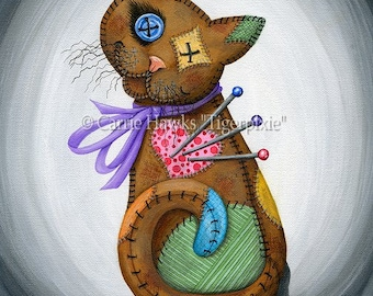 Voodoo Cat Doll Patchwork Cat Pin Cushion Cat Doll Button Eyes Cat Fantasy Cat Rag Doll Art Print 5x7 Cat Lovers Art