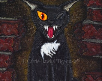 Black Cat Poe Art Horror Gothic E A Poe Fantasy Cat Art Print 12x16 Art For Cat Lovers Gift