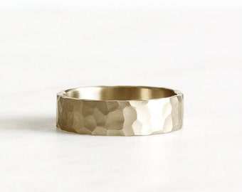 14k gold wedding band, hand carved texture, eco friendly, handmade, 6mm, wedding ring, recycled wedding band