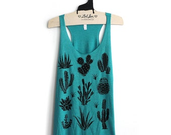 XL -Tri-Blend Teal Racerback Tank with Cactus Screen Print