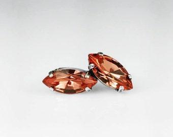 Rose Peach Navette Stud Earrings Swarovski Peach Pink Coral Earrings Jewelry