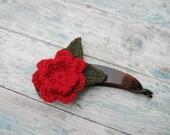 Hair Banana Crochet Flower Red Rose Hair Claw Flower Hairclip Plastic