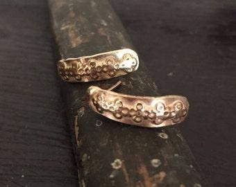 Ancient pattern gold earrings wax cast 14k yellow gold earrings