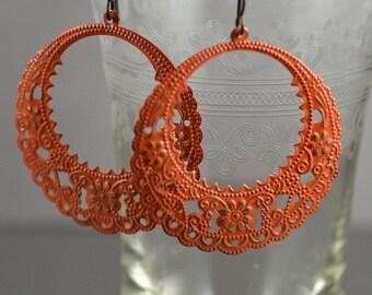 Hand-painted Rusty Orange Antiqued Brass Filigree Earrings