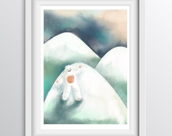 Quirky nursery print - Yeti yelling in the snow - Alphabet Art for children: Y - A4 fine art print for kids rooms