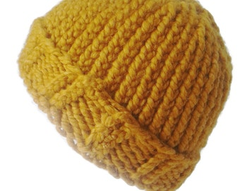 Golden Yellow Chunky Knit Hat Mustard Butterscotch Slouch Toque Ski Men Women Gift Unisex AIDAN - Ready to Ship Autumn Winter Accessories