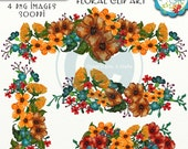 Watercolor Fall Floral Swags Clip Art, Floral Graphics, Digital Downloads, Digital Scrapbooking Elements, Floral Cliparts, Autumn Flower Art