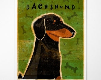 Dog Gifts- Coworker Gift- Black and Tan Dachshund Art Print Doxie Art Print- Weiner Dog Art- Dachshund Gifts- Weiner Dog Gifts for Parents