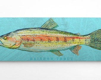 Rainbow Trout Art Block- Lake Home Art- Husband Gifts for Boyfriends- Trout Print- Trout Fishing Gifts for Him-Guy Gifts for Men- Dad Gifts