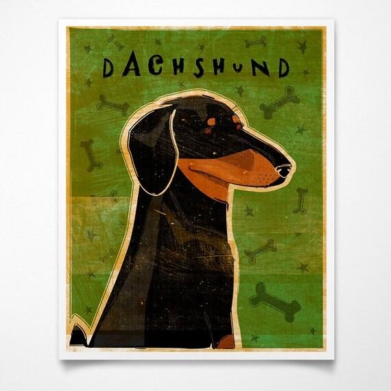 Dog Gifts- Coworker Gift- Black and Tan Dachshund Art Print Doxie Art Print- Weiner Dog Art- Dachshund Gifts- Weiner Dog Gifts for Parents