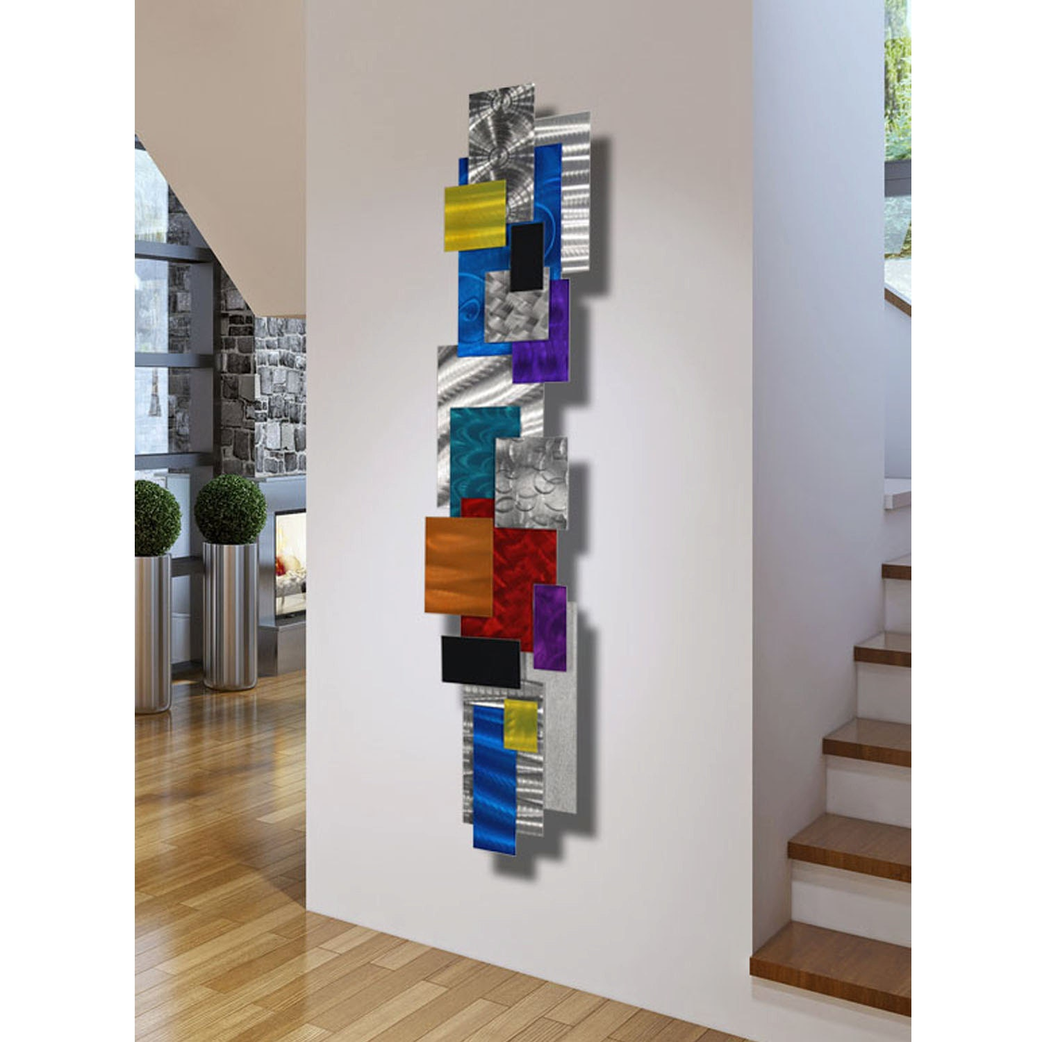 Large contemporary geometric metal wall decor multi color for Large colorful wall art