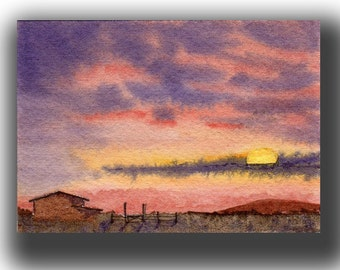 ACEO watercolor SUNSET original painting SFA miniature dollhouse