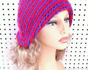 Purple Crochet Hat, Red Crochet Hat Womens Hat Trendy, Striped Cloche Hat, Purple Hat, Red Hat, Ready To Ship, POINTY, Formal Hat