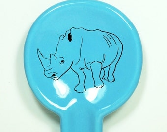 spoon rest with a rhino on it. Made to Order / Pick Your Colour