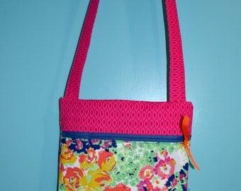 Girls Crossbody Bag - Girls Purse - Girls Bag - Kids Bag - Girls Floral Purse - Modern Girls Bag - Pink Blue Girls Purse - Girl Church Bag
