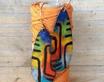 Colorful Enamel and Copper Earrings, Bold Mayan Tribal Design Statement Earrings, Torch Fired Enamel , Southwestern Inspired Earrings