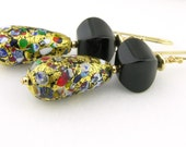 Black onyx confetti gold fill Murano glass earrings - 24K gold leaf venetian