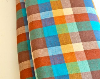 Vintage Plaid Fabric Woven 100% Cotton Gorgeous Mid Century Colors Medium Weight by the yard