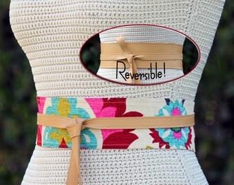 REVERSIBLE - Obi Wrap Belt - light camel lambskin leather colorful print fabric - Bespoke & custom made - XS S M L XL - 3 inch wrap sash