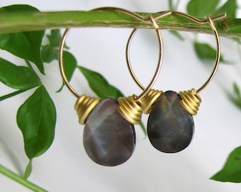 egyption earrings - 14k gold filled hoop earrings with gold plated beads and mother of pearl