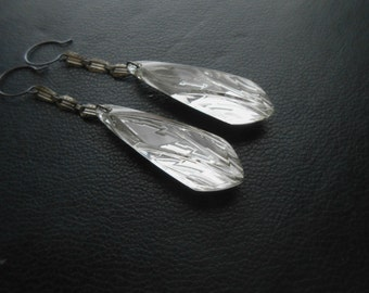 second sight - vintage repurposed tear drop earrings - ghostly vintage antique occult inspired witchy goth jewelry