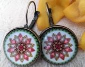 Small Mandala flower leverback earrings - bronze *Free Shipping*