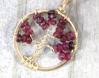 Mini Ruby Tree of Life Pendant 14k gf Dainty Gold Wire Wrapped Jewelry Precious Gemstone July Birthstone Necklace Miniature Wire Tree RTS