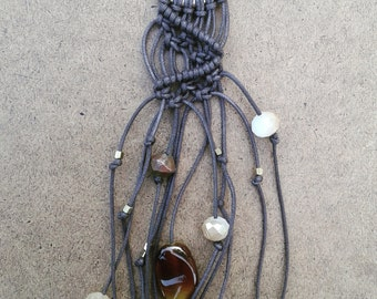 Brown macrame fringe necklace with gold circle and beads