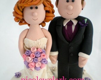 Custom Wedding Cake Topper.  Personalized Wedding Cake Top.  Handmade Cake Topper.  Bride and Groom Cake Top.  Mr and Mrs. Cake Topper.