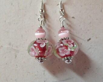 Floral Glass Earrings Pink Flowers Green Vine dark Pink core on Silver