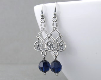 Filigree Earrings Crystal Drop Earrings Blue Crystal Earrings Indigo Jewelry Handmade Birthday Gift Crystal Jewelry - Moroccan Dreams