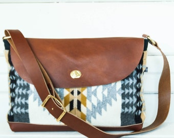 Wool and Leather Messenger Bag- Rancho Arroyo Print