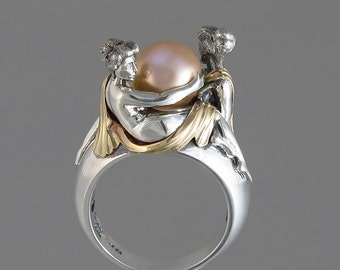 TWO BEAUTIES silver & 14k gold Pink Pearl ring