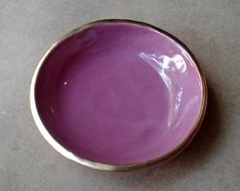 Ceramic Ring Bowl Trinket bowl Dusty Rose Gold edged