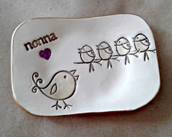 NONNA Trinket  Dish Mothers Day 4 birdies