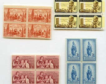 Lot 16 UNUSED US Postage Stamps .03 .04 3 cents 4 cents Blocks Colorful Vintage Antique Early USA Postal MoRE AVAlLABLE stampsA