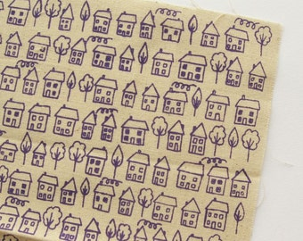 Avenue - Purple - Hand Screenprinted Fabric - Summersville - 9.5 x 14 inches - Houses - Destash