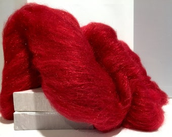 "Red Wool Fiber Art Batt, ""Red Hot"" Needle Felting, decorative fiber, roving, red Firestar, Christmas Red, Valentine's Day, Holiday Decor"