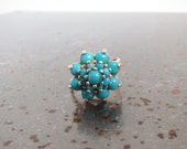 Showstopper! 14K Gold and Turquoise Cluster Cocktail Ring sz 6 RESERVED PURCHASE