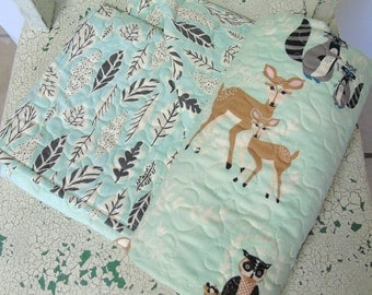 Hello Bear Baby Quilt Woodland Nursery Quilt Made to Order Forest Animals Deer