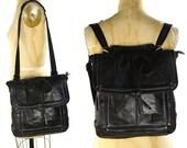 90s Leather Backpack / Vintage 1990s Convertible SAK Rucksack with Shoulder Strap / Large SOFT Black Leather Backpack / Purse / Shoulder Bag
