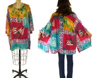 Batik Blouse / Vintage 1990s Indonesian Rayon Boho Hippie Button Up Top / Bohemian Flowing Oversized Blouse with Hand Dyed Print