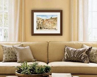Jewish Art | jewish gifts | jerusalem Israel Western Wall | JUDAICA art | landscape painting | watercolor print | hanukkah gift idea