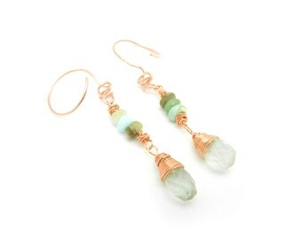 Copper Earrings, Green Fluorite, Peruvian Opals, Dangle Earrings, Copper Jewelry, Green Jewelry, Made by Durango Rose