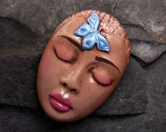 Nubian Butterfly Goddess Face CAB Cabochon Handmade and hand painted Polymer Clay