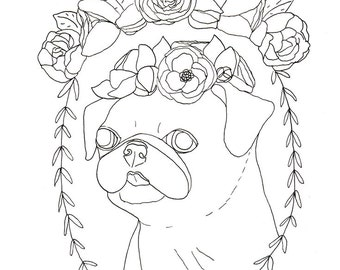 pug coloring book etsy boo puppy coloring pages